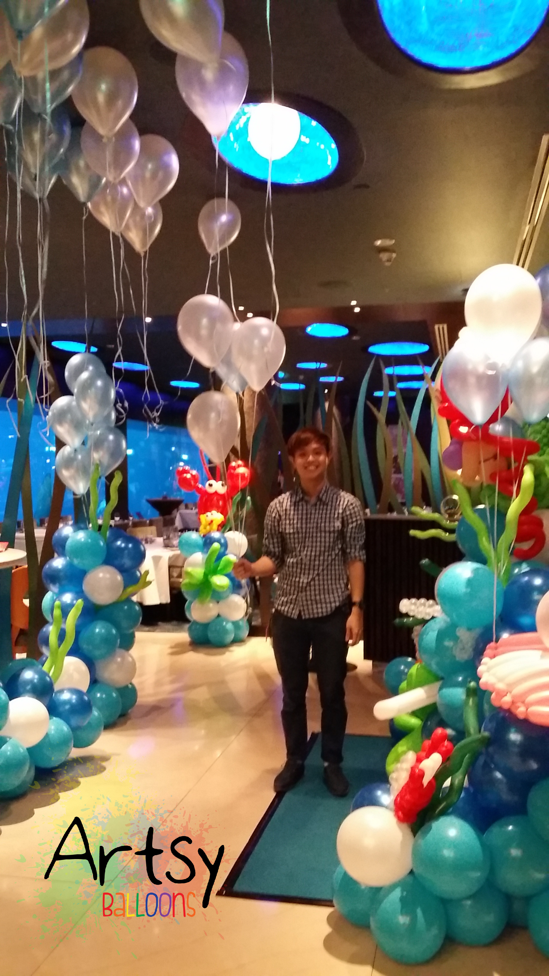 , Underwater themed balloon decoration at Ocean Suites RWS, Singapore Balloon Decoration Services - Balloon Workshop and Balloon Sculpting