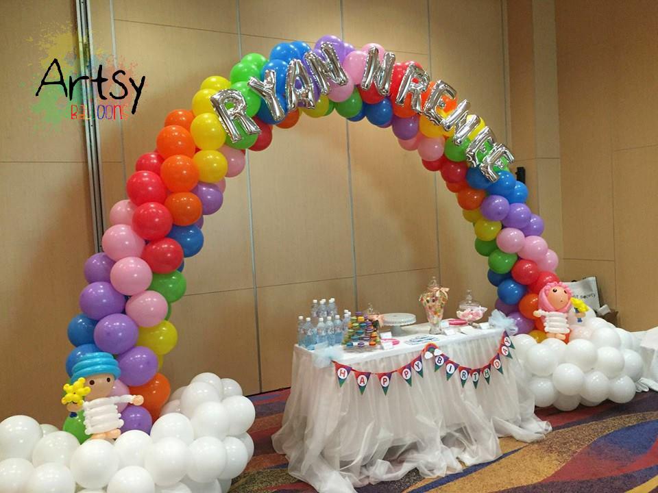 , Rainbow balloon arch and columns, Singapore Balloon Decoration Services - Balloon Workshop and Balloon Sculpting