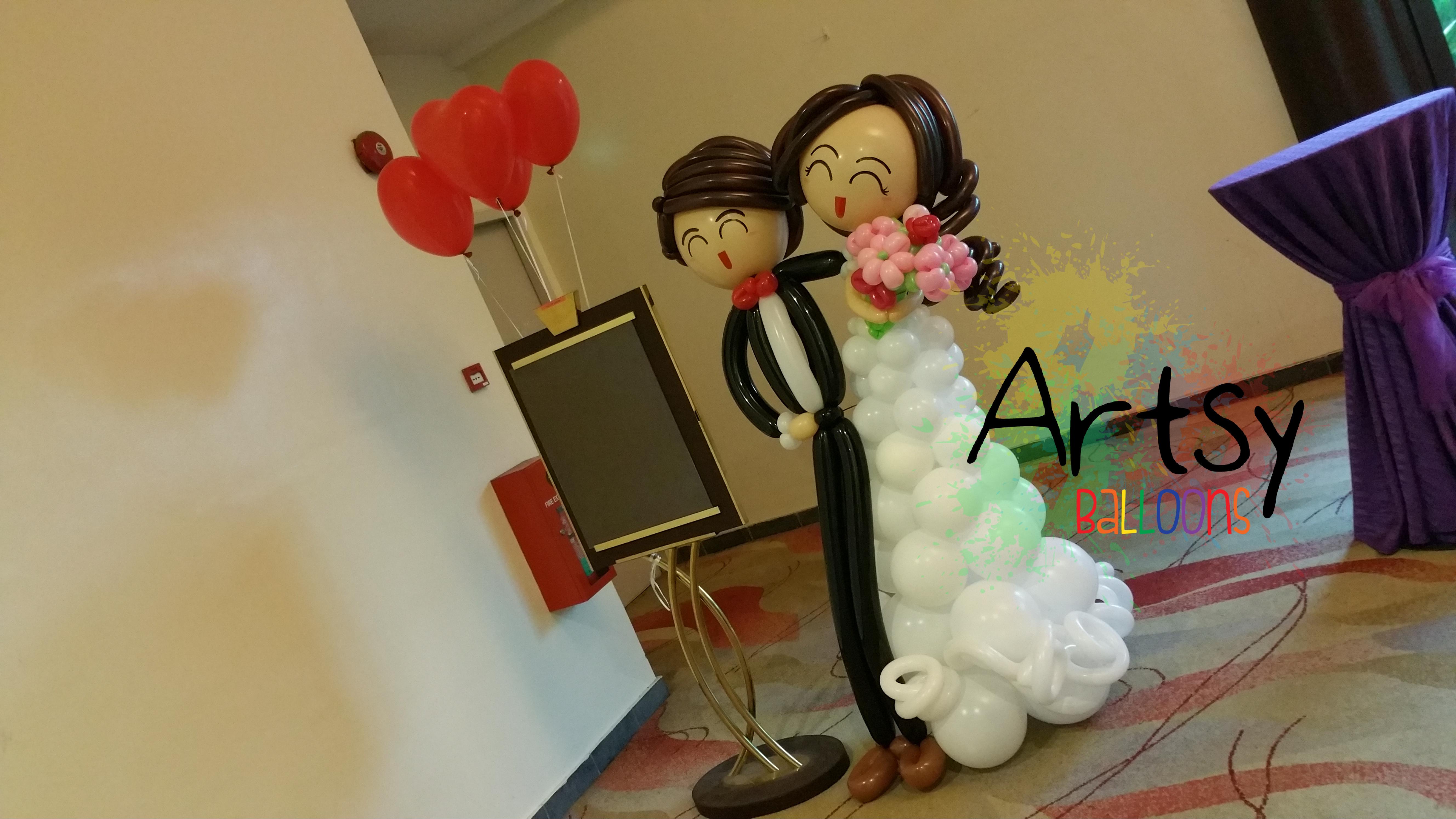 , Balloon Wedding Couple, Singapore Balloon Decoration Services - Balloon Workshop and Balloon Sculpting