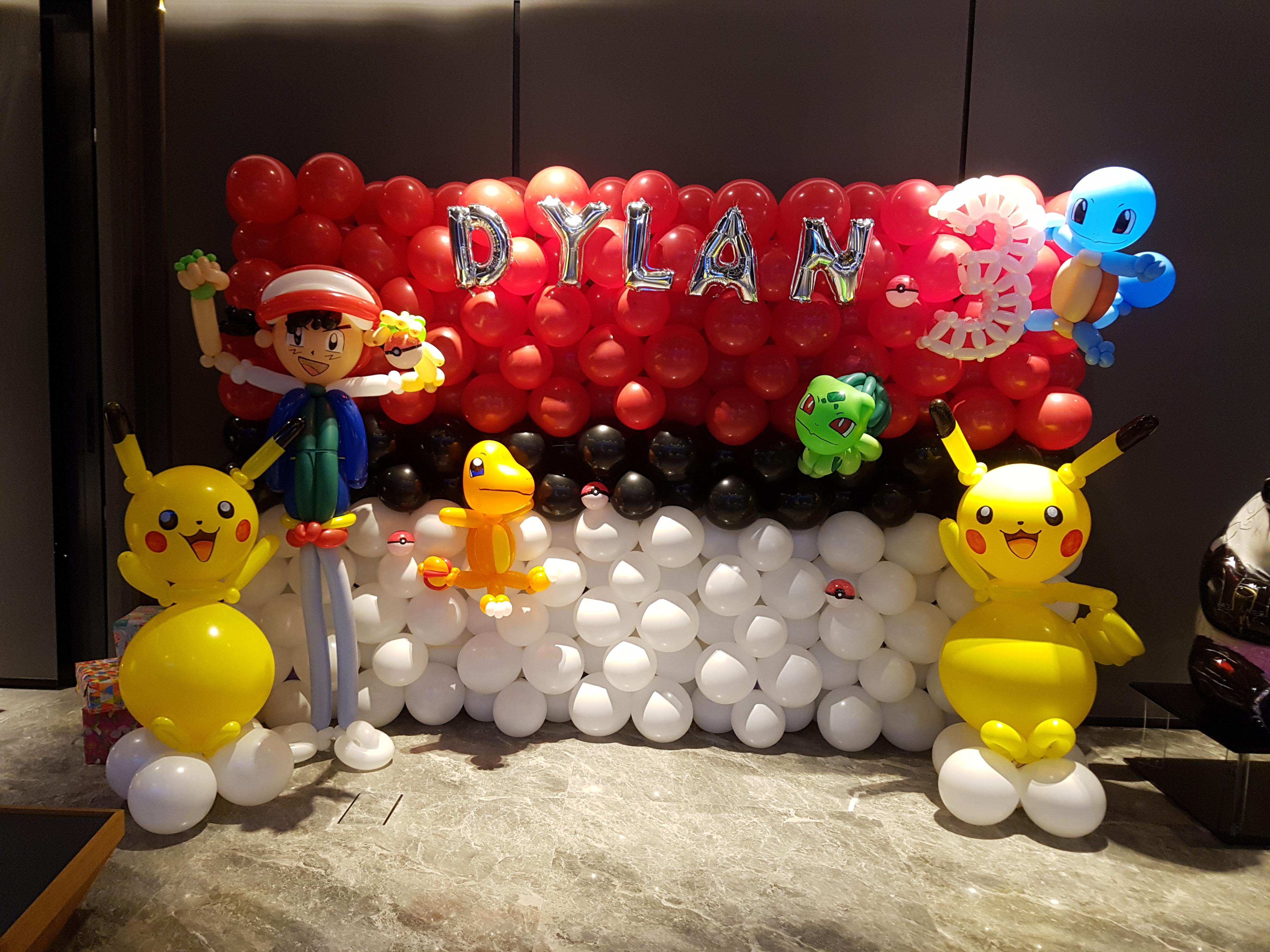 Pokemon themed balloon decoration