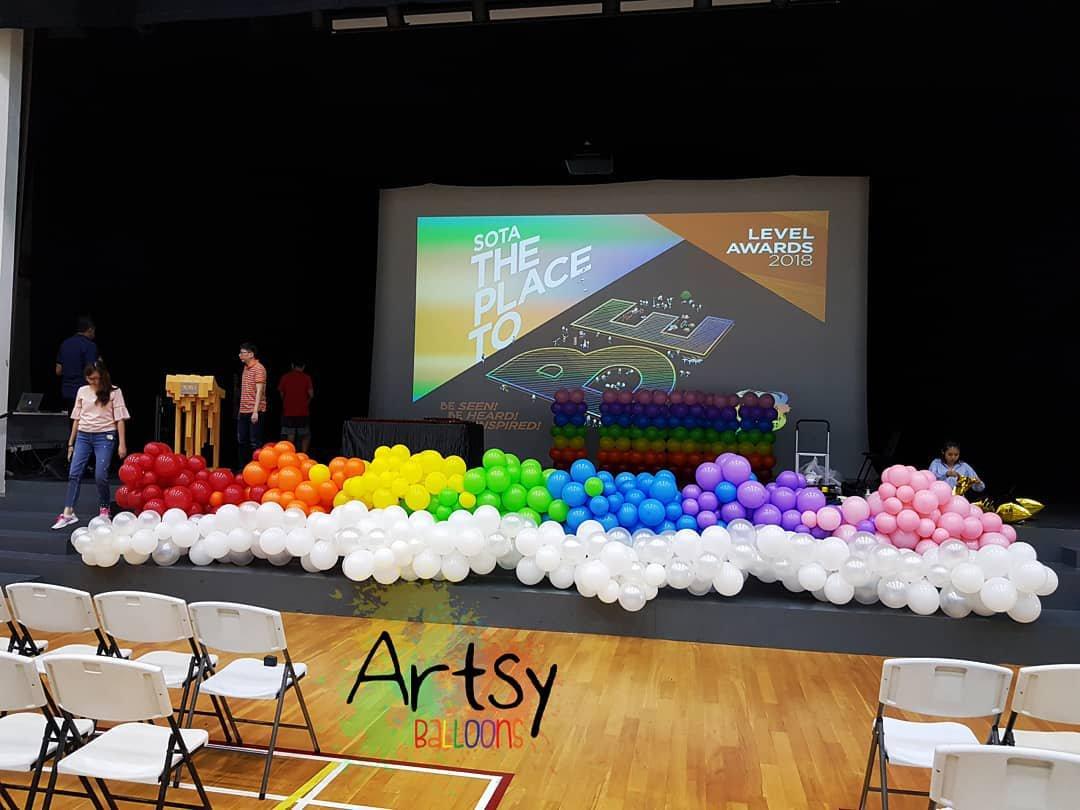 Rainbow balloon decoration arch helium balloons