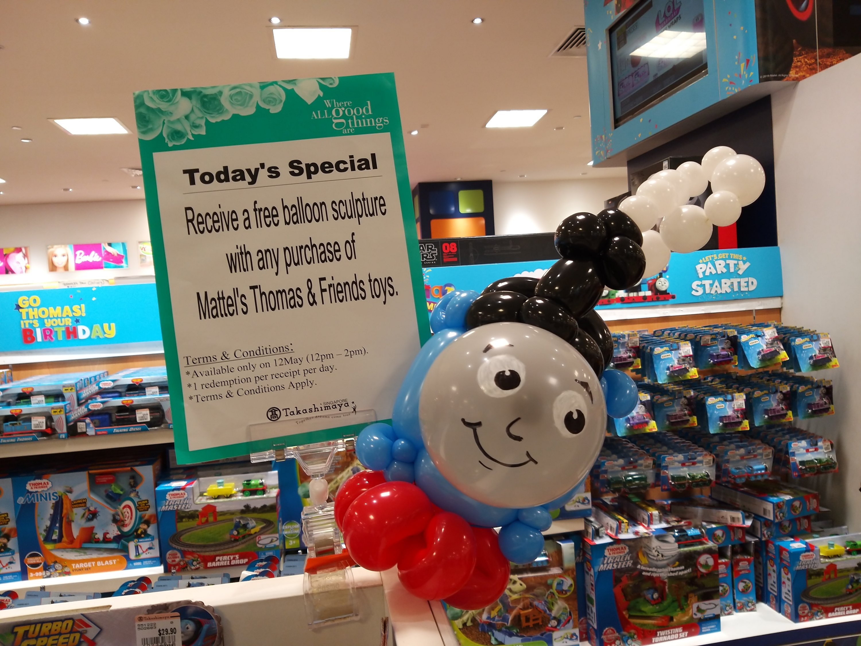 , Happy birthday Thomas the Train's and friend!, Singapore Balloon Decoration Services - Balloon Workshop and Balloon Sculpting