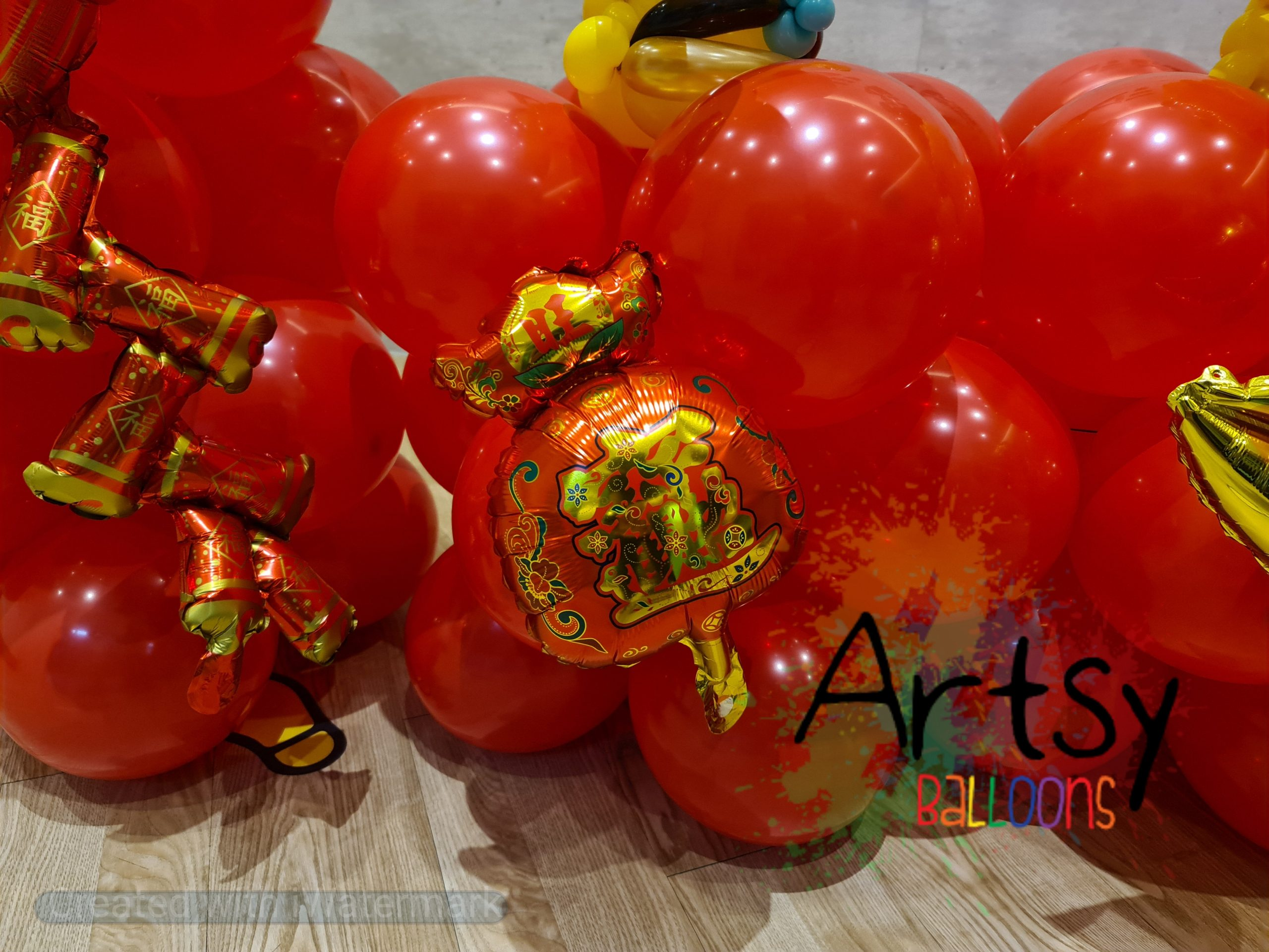 , Ox Chinese New Year Balloon Decorations, Singapore Balloon Decoration Services - Balloon Workshop and Balloon Sculpting